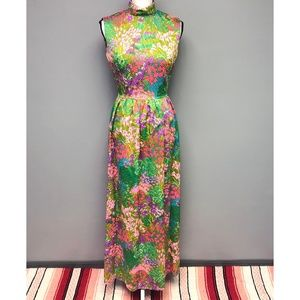 VTG 60s Handmade Dayglo Floral Maxi Psychedelic